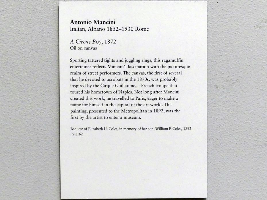 Antonio Mancini: Zirkusjunge, 1872, Bild 2/2