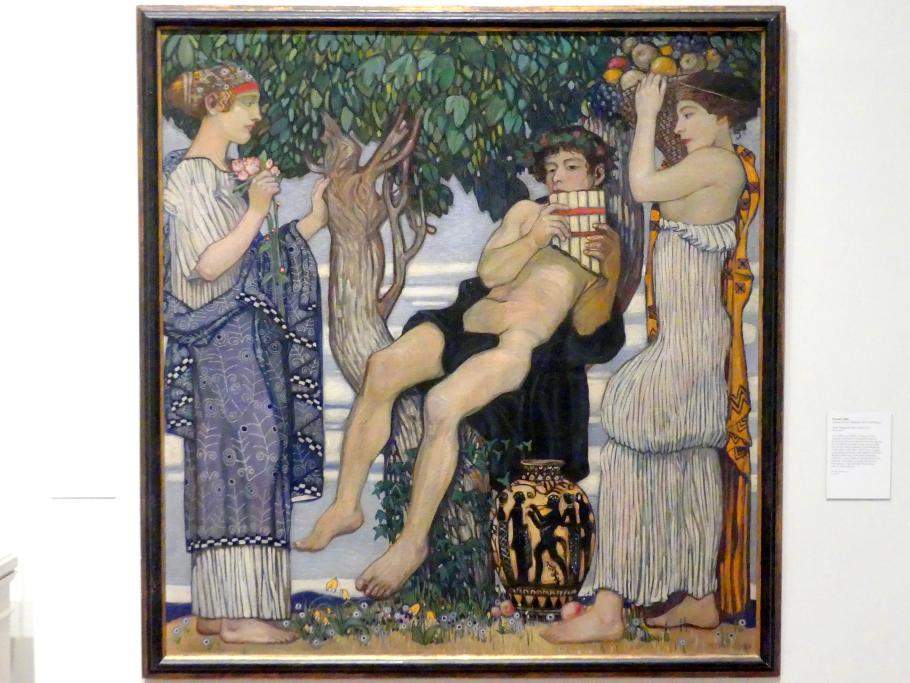 Bertold Löffler: Flöte spielender Jüngling mit Flora und Pomona, 1912