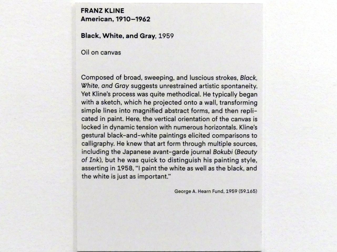 Franz Kline: Schwarz, Weiß und Grau, 1959, Bild 2/2