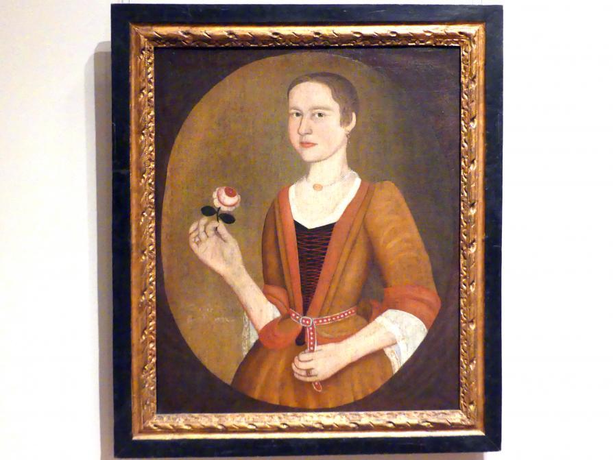 Pieter Vanderlyn: Junge Dame mit einer Rose, 1732