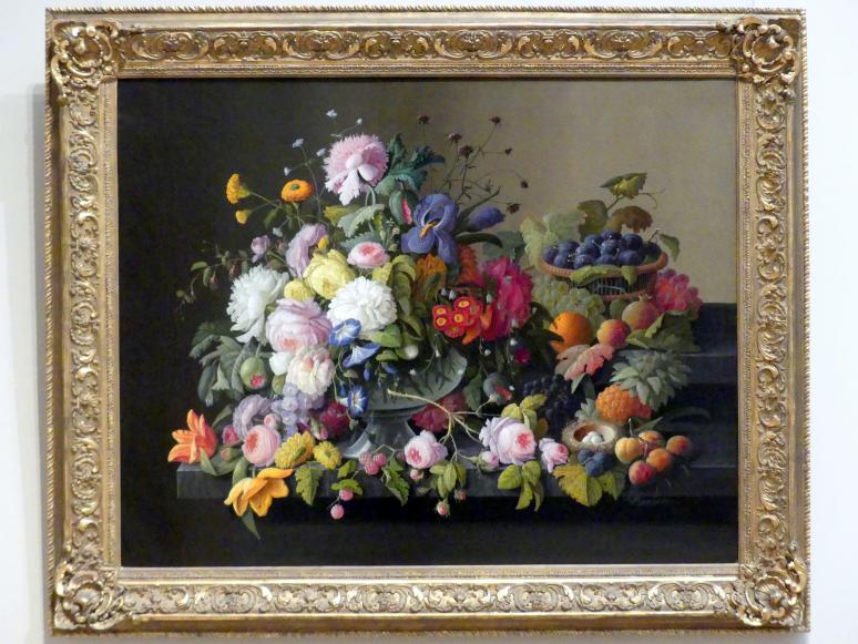 Severin Roesen: Stillleben: Blumen und Obst, um 1850 - 1855
