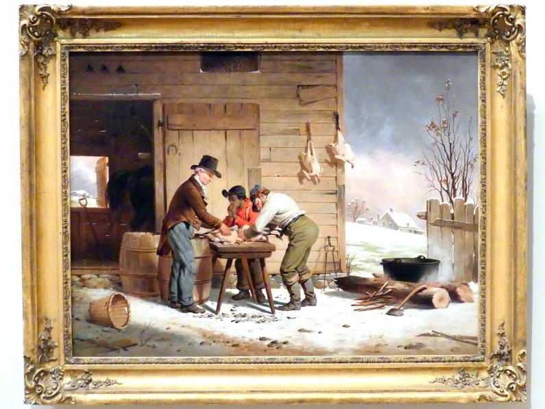 Francis William Edmonds: Vorbereitung auf Weihnachten (Rupfen der Truthähne), um 1851