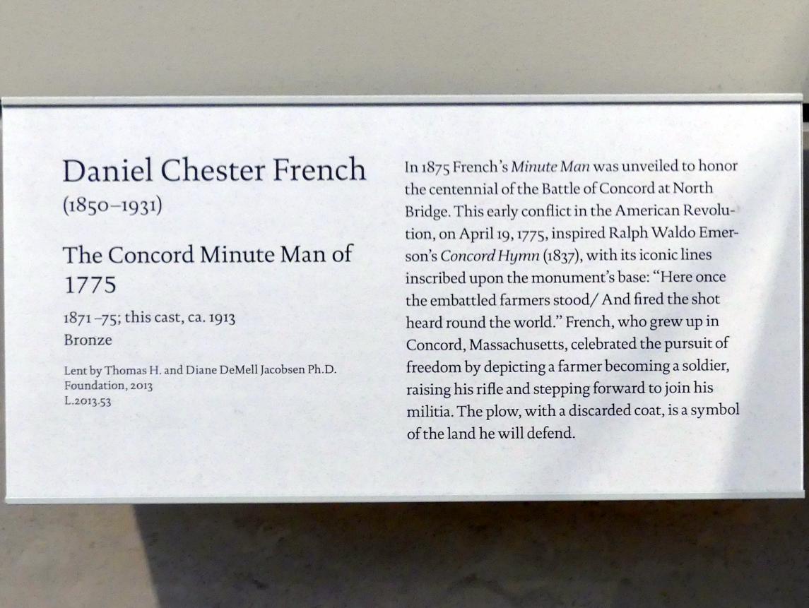 Daniel Chester French: Der Concord Minuteman von 1775, 1871 - 1875, Bild 4/4