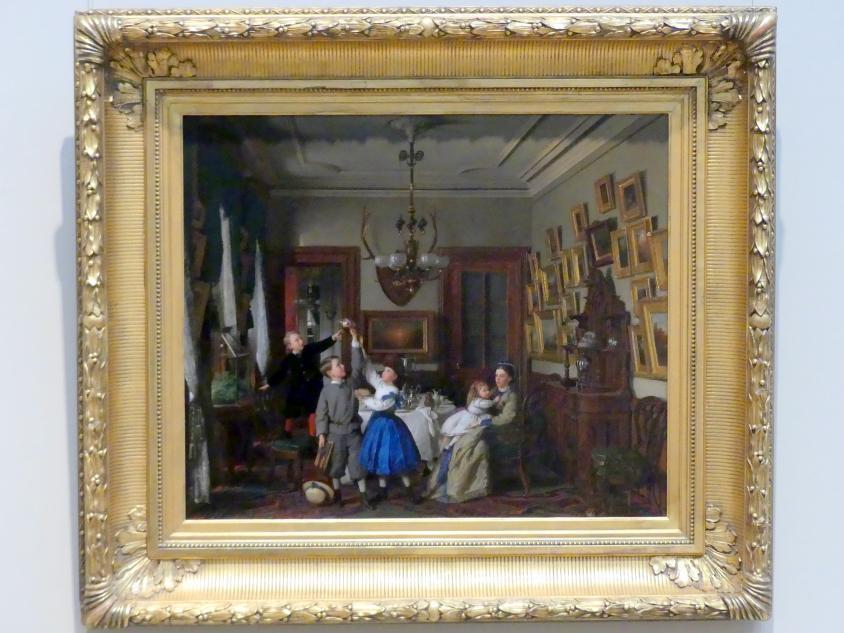 Seymour Joseph Guy: Wettbewerb um den Blumenstrauß: Die Familie Robert Gordon in ihrem New Yorker Esszimmer, 1866