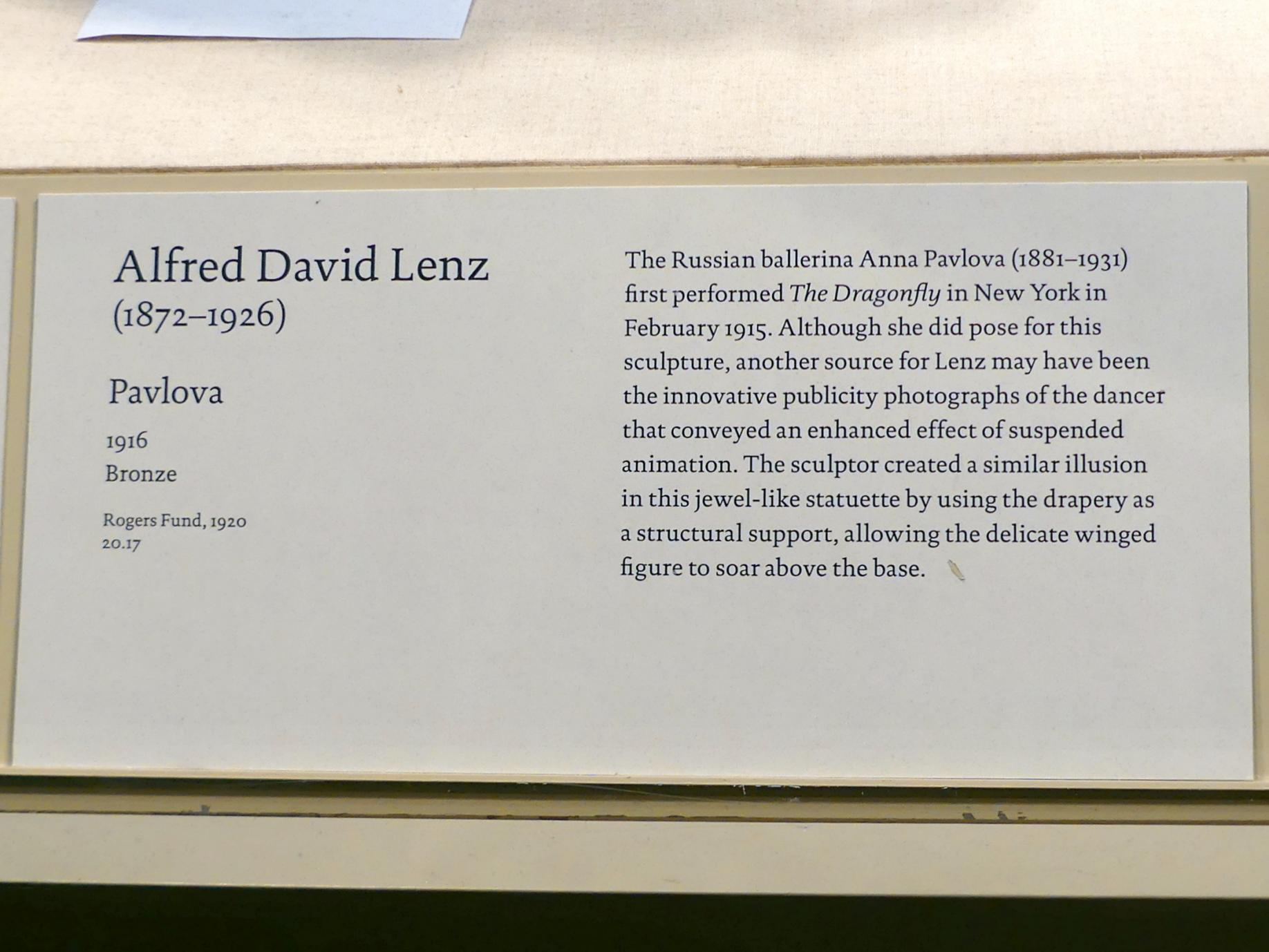 Alfred David Lenz: Pavlova, 1916