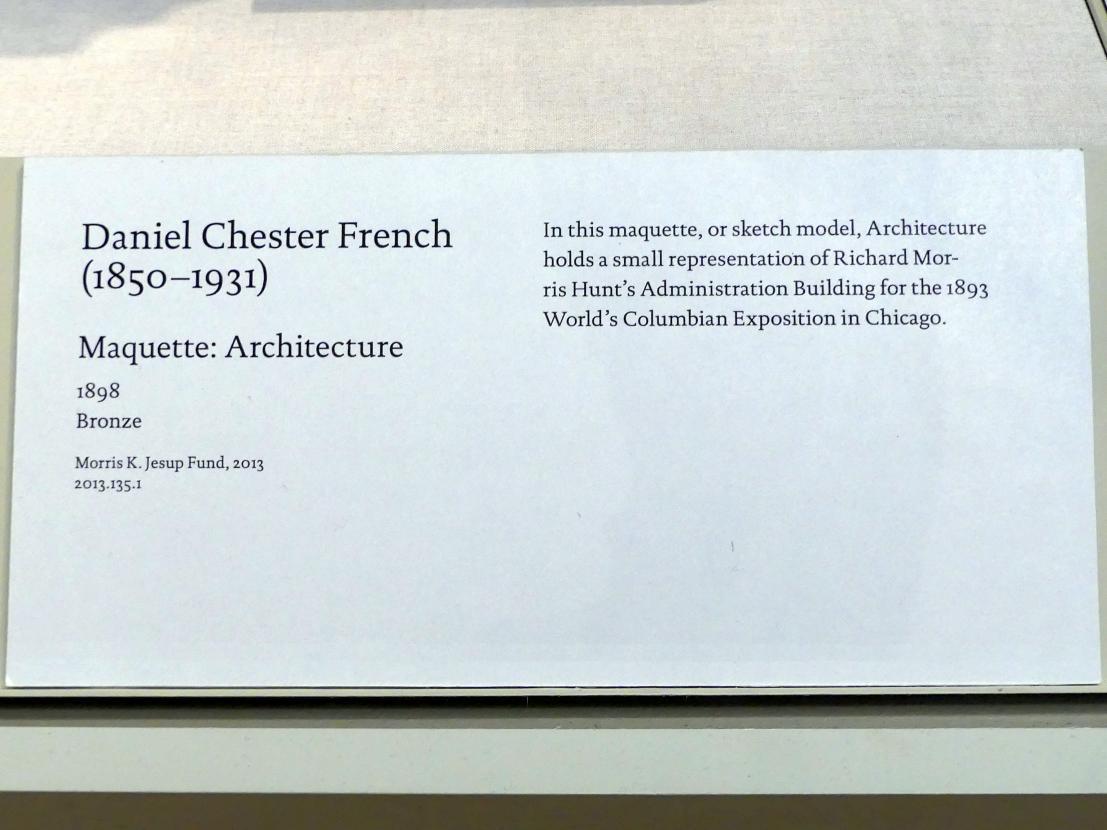 Daniel Chester French: Modell für eine Allegorie der Architektur, 1898, Bild 2/2