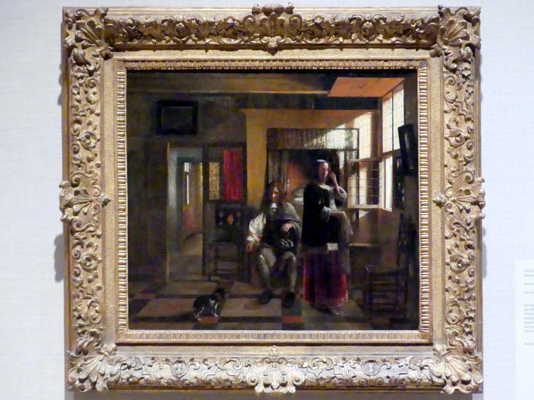 Pieter de Hooch: Interieur mit einem jungen Paar, um 1662 - 1665