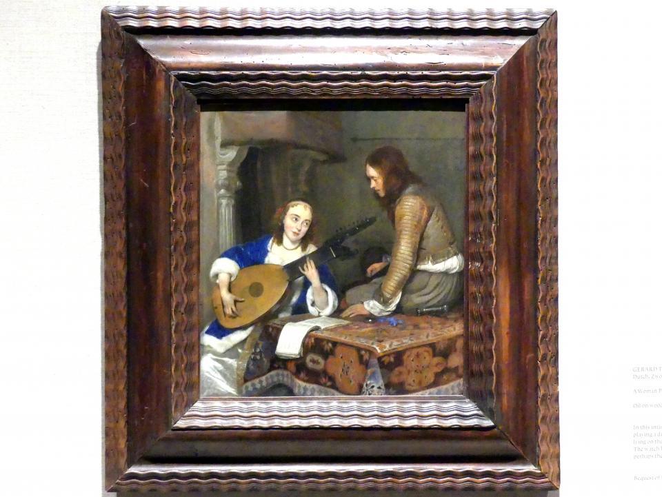 Gerard ter Borch: Eine Frau, die Theorbe-Laute spielt, und ein Kavalier, um 1658