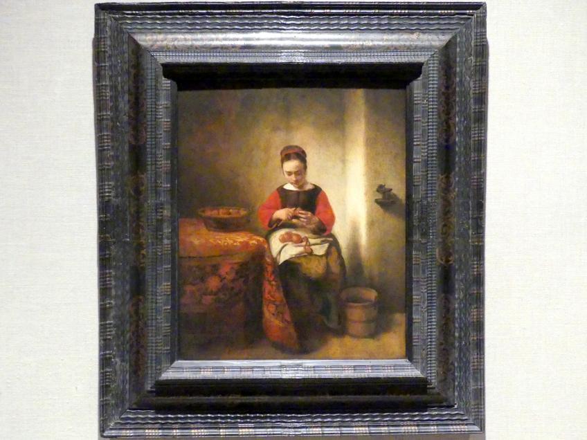 Nicolaes Maes: Junge Frau beim Apfelschälen, um 1655