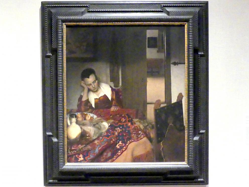 Jan Vermeer (Johannes Vermeer): Schlafendes Mädchen, um 1656 - 1657