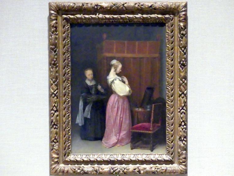 Gerard ter Borch: Eine junge Frau an ihrer Toilette mit einer Magd, um 1650 - 1651