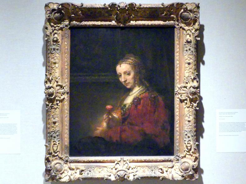Rembrandt (Rembrandt Harmenszoon van Rijn): Frau mit einer Nelke, um 1660 - 1663