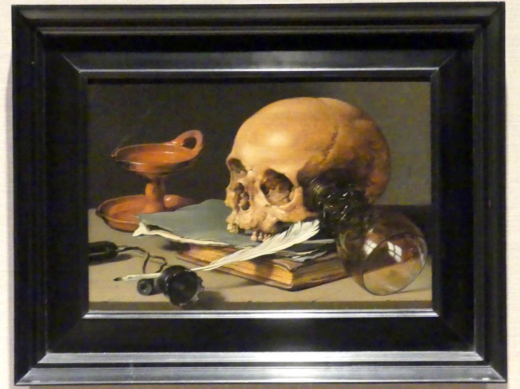 Pieter Claesz: Stillleben mit Schädel und Schreibfeder, 1628