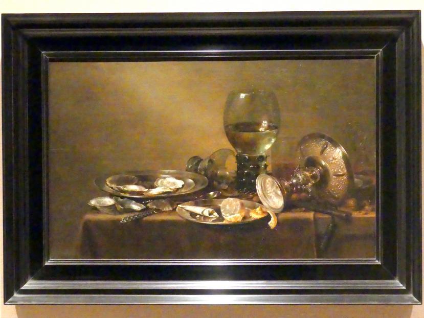 Willem Claeszoon Heda: Stillleben mit Austern, einer silbernen Tazza und Glaswaren, 1635