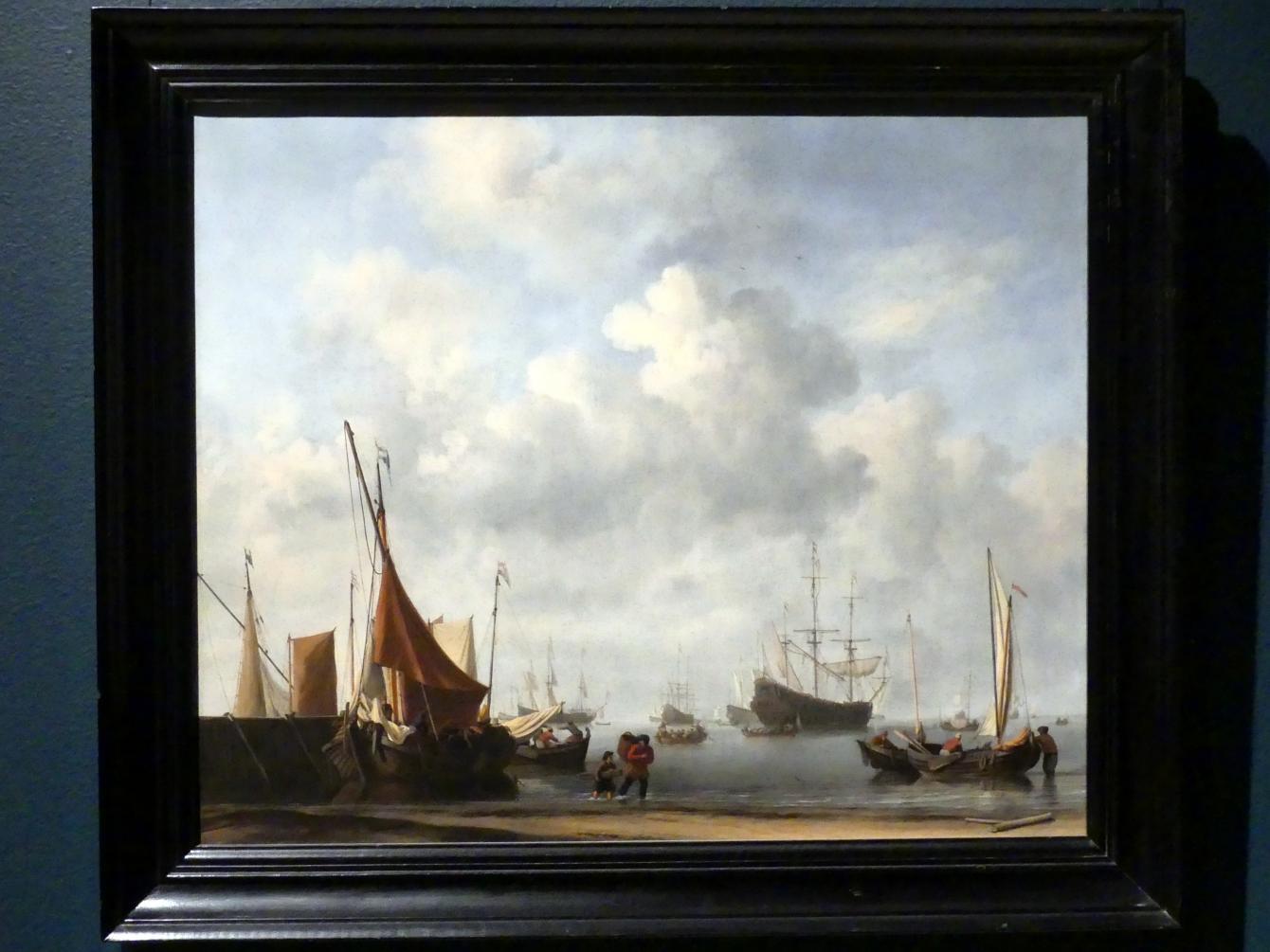 Willem van de Velde der Jüngere: Einfahrt zu einem holländischen Hafen, um 1665