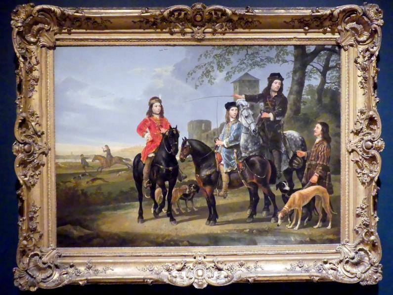 Aelbert Cuyp: Reiterporträt von Cornelis (1639–1680) und Michiel Pompe van Meerdervoort (1638–1653) mit ihrem Tutor und Kutscher, um 1652 - 1653