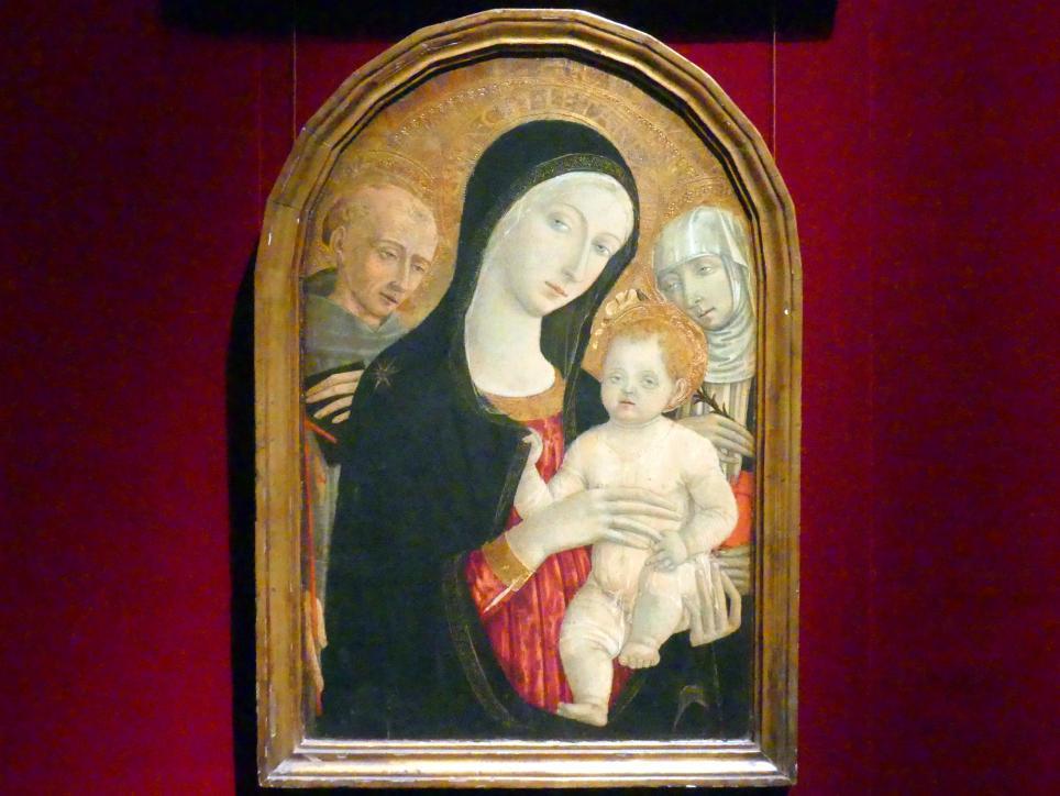 Matteo di Giovanni: Madonna und Kind mit den Heiligen Franziskus und Katharina von Siena, um 1476 - 1480