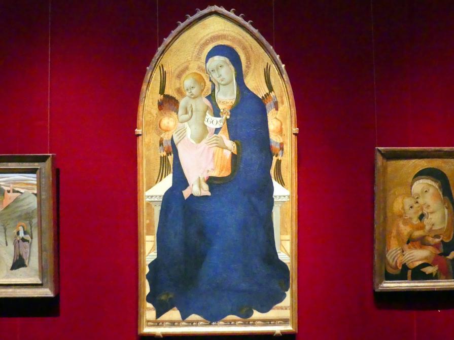 Meister der Osservanza: Thronende Maria mit Kind und zwei Cherubim, um 1440