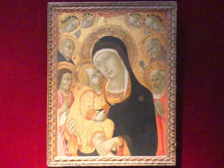 Sano di Pietro: Maria mit Kind und den Heiligen Johannes der Täufer, Hieronymus, Petrus der Martyr und Bernhardin von Siena und vier Engel, Undatiert