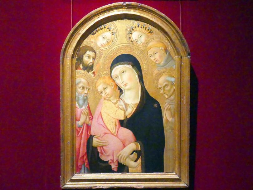 Sano di Pietro: Maria mit Kind und den Heiligen Hieronymus, Bernhardin von Siena, Johannes der Täufer und Antonius von Padua und zwei Engel, um 1465 - 1470
