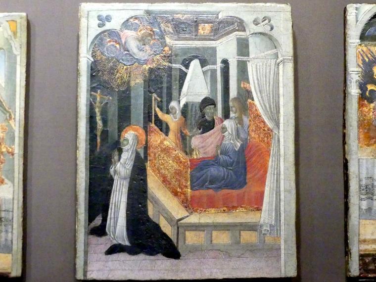 Giovanni di Paolo: Die Heilige Katharina von Siena erfleht bei Christus die Wiederbelebung ihrer Mutter, um 1447 - 1465