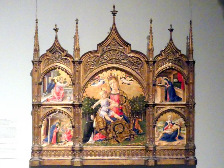 Bartolomeo Vivarini: Madonna der Demut, Verkündigung, Geburt und Pietà, um 1465