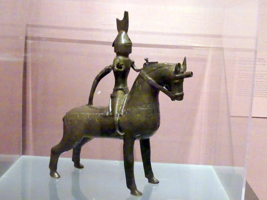 Aquamanile in Form eines Ritters zu Pferd, um 1350