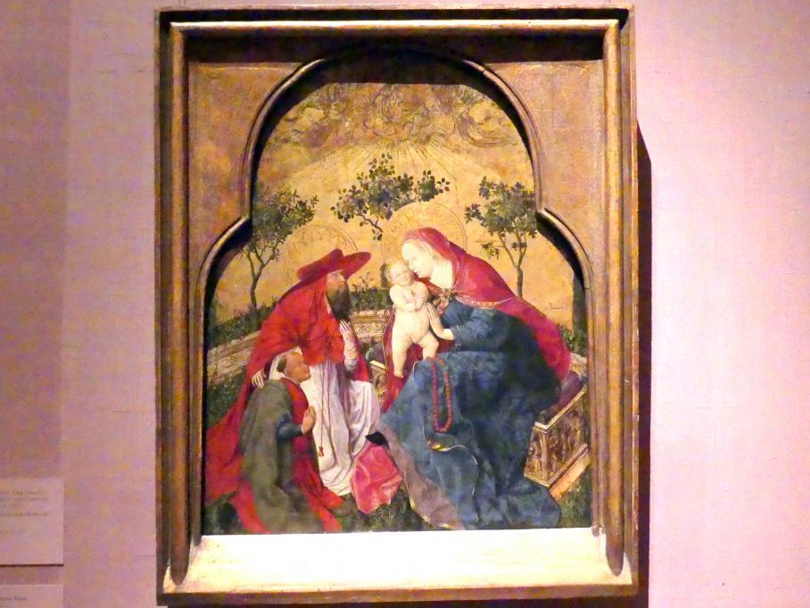 Jungfrau und Kind mit einem Stifter, empfohlen vom Heiligen Hieronymus, um 1450