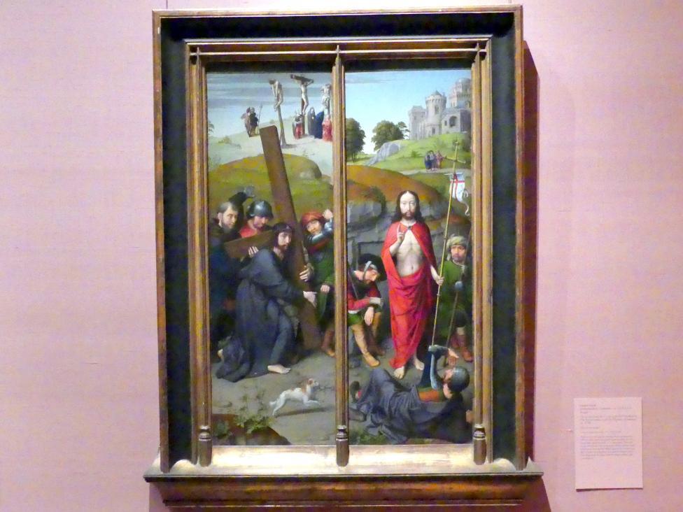 Gerard David: Christus trägt das Kreuz mit der Kreuzigung; Die Auferstehung mit den Pilgern von Emmaus, um 1510