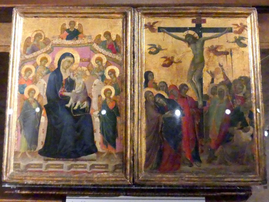 Segna di Bonaventura: Maria mit Kind und neun Engeln und die Kreuzigung, um 1315