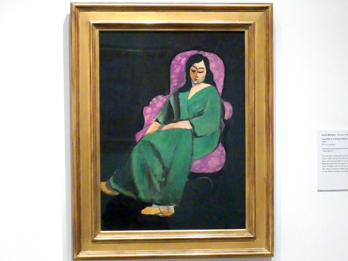 Henri Matisse: Laurette in einer grünen Robe, schwarzer Hintergrund, 1916