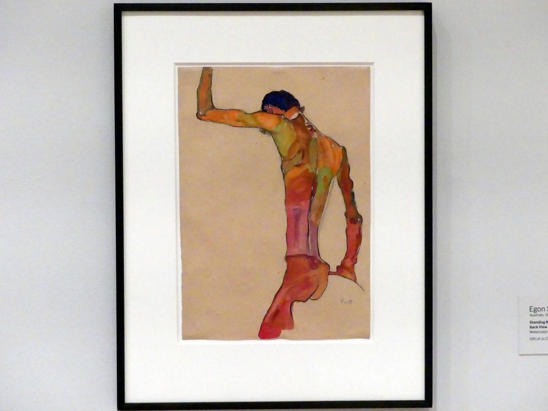 Egon Schiele: Stehender männlicher Akt mit erhobenem Arm, Rückansicht, 1910