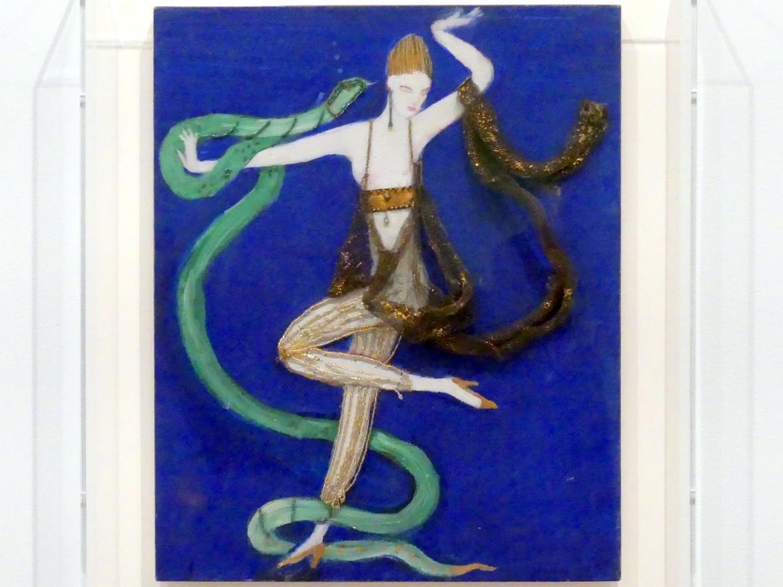 Florine Stettheimer: Kostümdesign (Euridice und die Schlange, zwei Tangotänzer und der heilige Franziskus) für das Künstlerballett Orphée der Quat-z-arts, um 1912