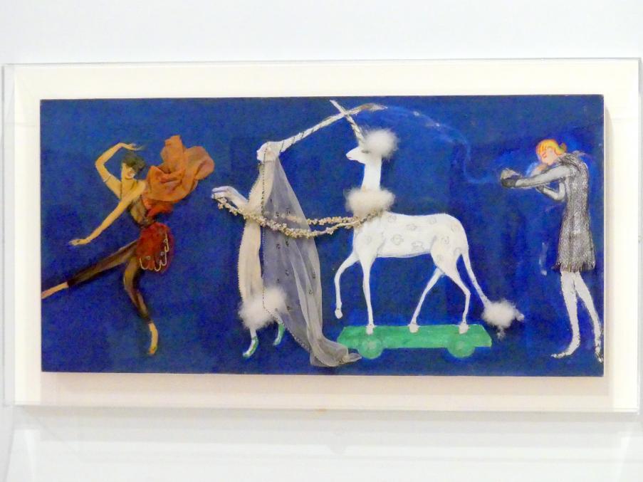 Florine Stettheimer: Kostümdesign (Prozession: Zizim von Persien, Agnes de Bourganeuf und das Einhorn) für das Künstlerballett Orphée der Quat-z-Künste, um 1912