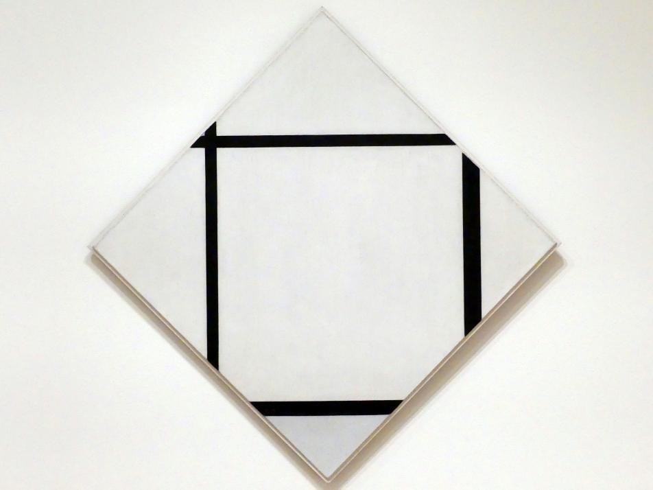 Piet Mondrian: Tableau I: Raute mit vier Linien und Grau, 1926