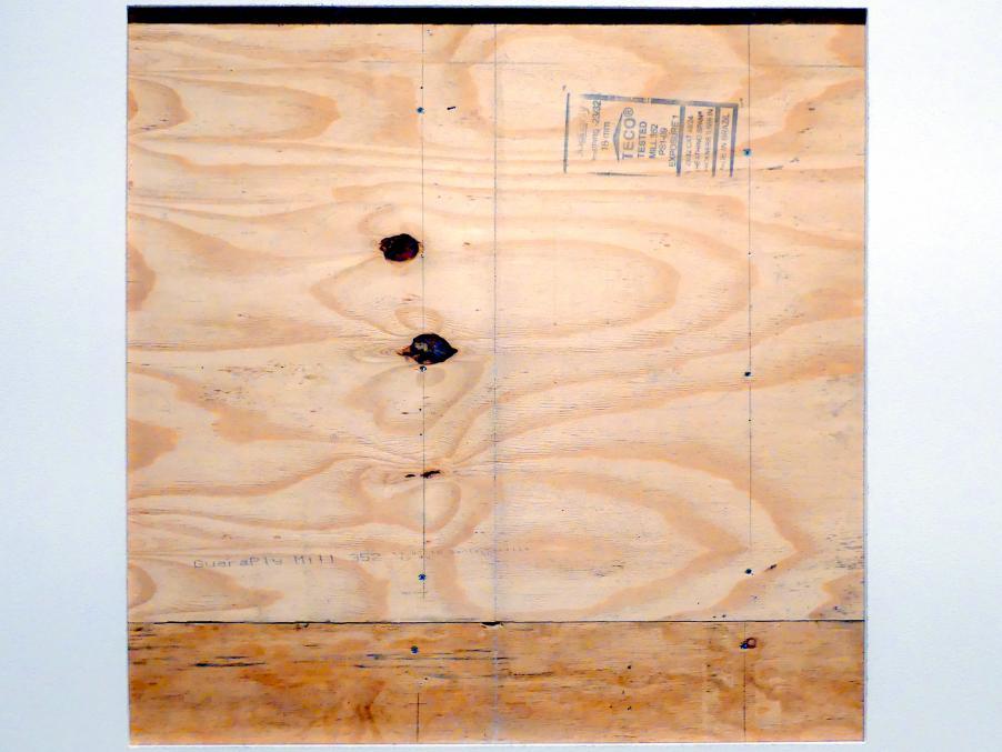 """Lawrence Weiner: A 36"""" X 36"""" Entfernen der Putz- oder Stützwand von Putz oder Wandbrett von einer Wand, 1968"""