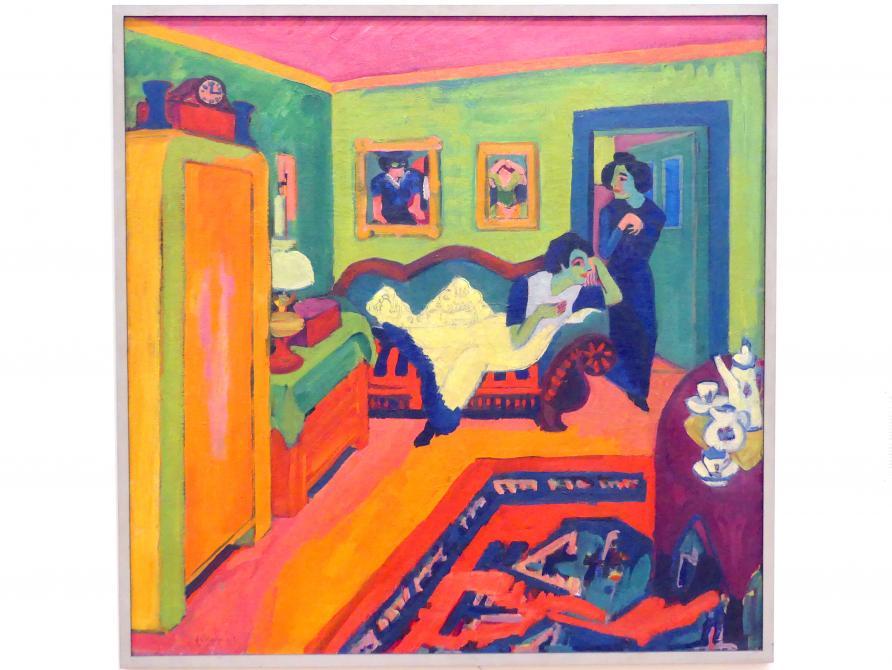 Ernst Ludwig Kirchner: Interieur mit zwei Mädchen, 1908 - 1926