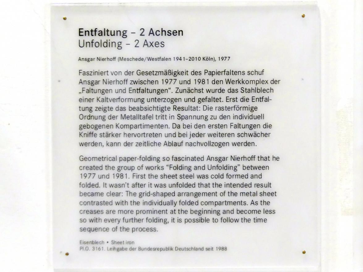 Ansgar Nierhoff: Entfaltung - 2 Achsen, 1977, Bild 4/5