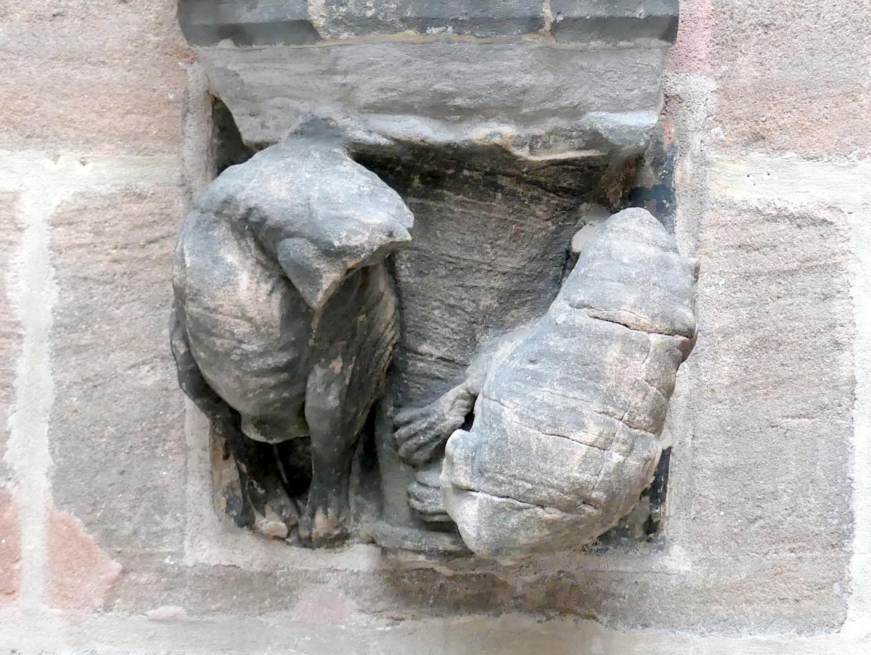 Konsolen mit kämpfenden Fabeltieren und lesenden Mönchen, um 1370