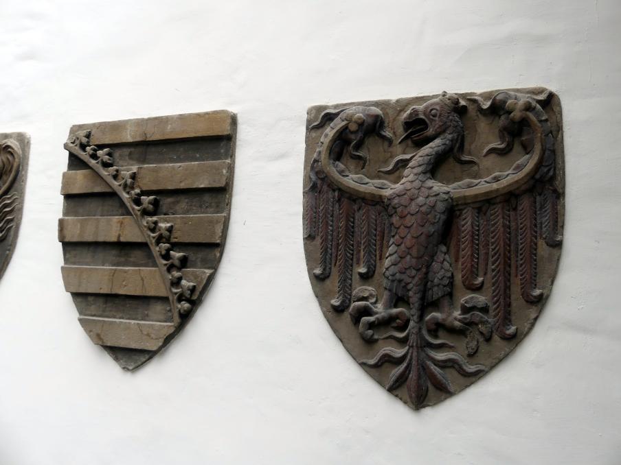 Wappen des Reichs, der Stadt Rom und der Sieben Kurfürsten, um 1360