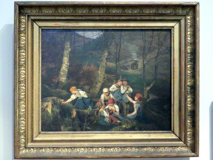 Ferdinand Georg Waldmüller: Kinder im Walde (Kinder mit Veilchen spielend), 1858